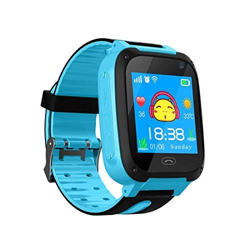 Niños Smart Watch Phone, GPS Tracker Smartwatch para niños de 3-12 años Niñas con cámara SOS Ranura para tarjeta SIM Juego de pantalla táctil Smartwatch Childrens Gift (Azul)