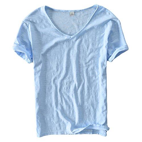 Insun Herren Tiefer V-Ausschnitt T-Shirt Kurzarm Sommer Freizeit Lässig Shirt Einfarbig Himmelblau
