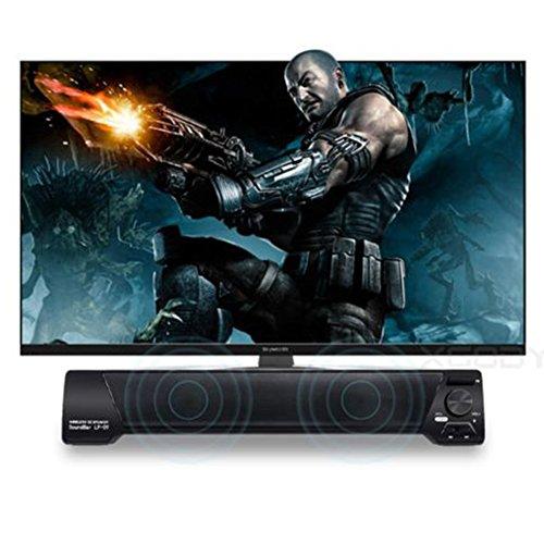 TV Soundbar Bluetooth V4.2 Lautsprecher USB Stereo Heimkino-System 3,5 mm Aux TF-Karte LED-Indikator eingebautes Mikrofon Stereo Tragbar für TV PC mit kabelloser oder verkabelter oder TF-Karte