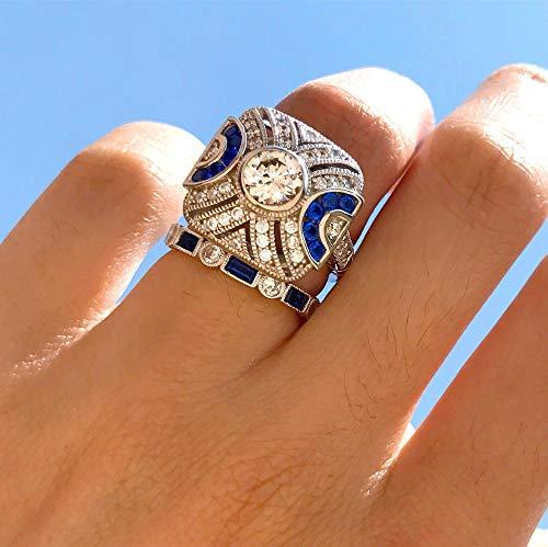 ion Ring Set blau Stein Finger Ring 925 Splitter gefüllt Vintage Ring für Frauen & Männer Wedding Bands Party Zubehör, 7. ()