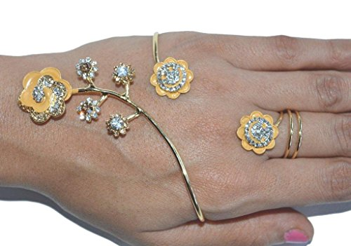 Indian Designer Exclusive Diamond Ftd Party Wear Bracelets with Ring (Panja)