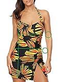 Yuanu Sommer Komfortabel Atmungsaktiv Konservativ Geteilter Badeanzug Fette Frauen Sonne Blumen Drucken Tankini Mit Kleid Als Bild XL