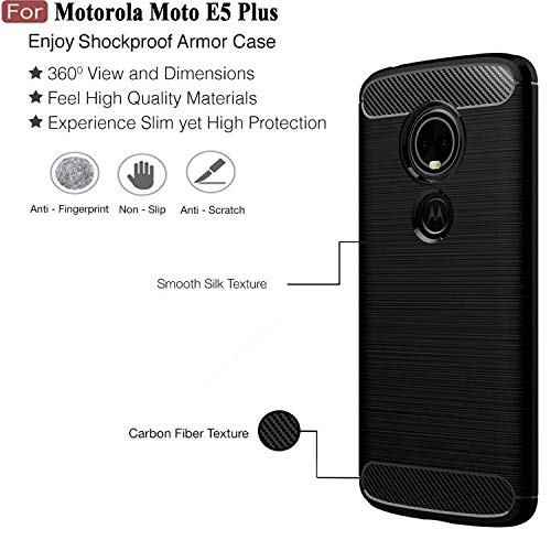 Cedo Rugged Armor Back Cover Case and 5D Edge to Edge 9H Tempered Glass Screen Protector for Motorola Moto E5 Plus (Black)