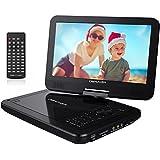 "Reproductor de DVD Portátil de 10.5"" con Pantalla Giratoria, 5 Horas recargable incorporada de la batería, Compatible con Tarjetas SD y USB - Negro"