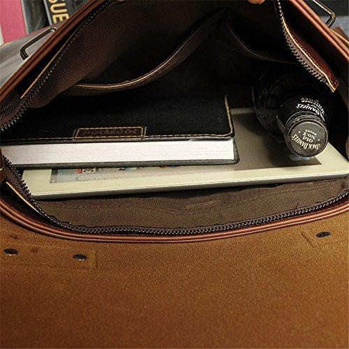 06e087f77a3b8 Wewod Vintage Canvas Leder Umhängetasche Collegetasche Aktentaschen  Laptoptasche für Arbeit Studium Reise Braun A