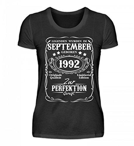 Shirtee Hochwertiges Damen Organic Legenden September Geburtstag 1992 Schwarz