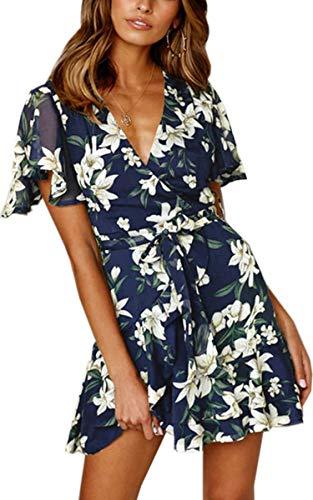 Angashion Damen Sommerkleid V-Ausschnitt Blusenkleid Kurze Ärmel Partykleid Blumenmuster Lose Strand Kleider mit Gürtel Blau M -