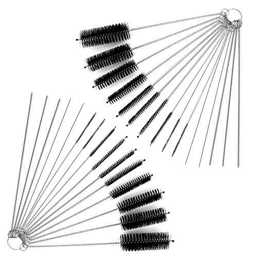 Nylon Reinigungsbürsten yucool 2-Reinigungs-Set mit 10 Stück mit Tasche zum Trinken Strohhalme, Gläser Tastaturen Schmuck mit Pinsel + 10 Nadeln (Bürste Nylon Gun)