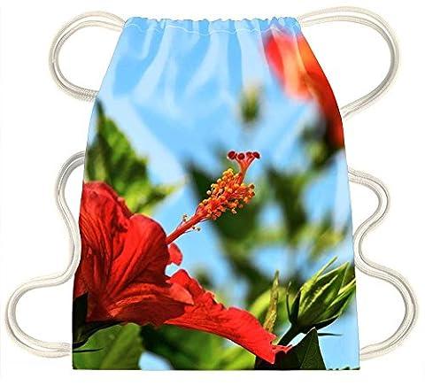 Irocket–Hibiscus Fleurs Tropicales contre Ciel Bleu–Cordon de serrage Sac à dos Sac Sac