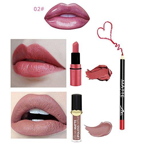 Crayon à lèvres Lip,Brillant à lèvres 4Pcs / Set imperméable, mat et durable Watopi