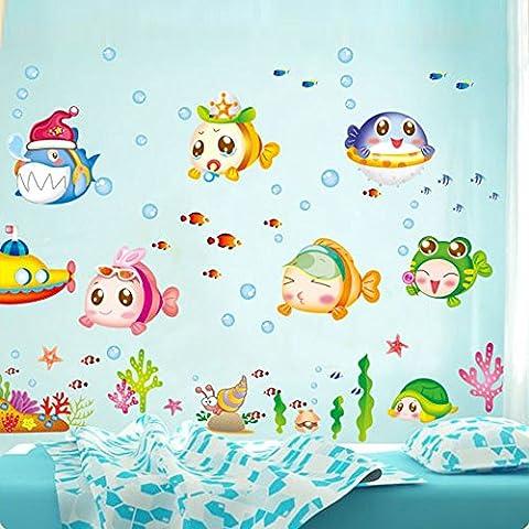 ozuzu (TM) da parete Sticke Cartoon Cute Underwater World Pesce bolla adesivi decorazione murale per stanza bambini, decalcomania casa decorazione carta da