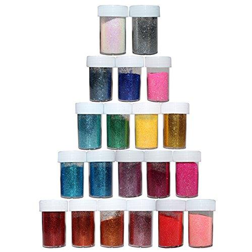 Lot de 20 Tubes de Paillettes Fines de Couleurs Variées par Kurtzy - Pots de 10g - Coloris Variés pour les Loisirs Créatifs, Fabrication de Cartes, Tissus, Nail Art et plus - Large Paquet