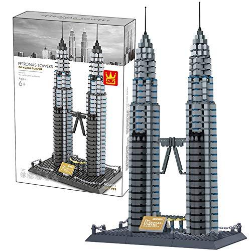 Aiya Weltberühmte Architektur Serie Petronas Twin Towers Bausteine   Sets 3D Modell Bausteine   Klassische DIY Geschenke Ziegel Spielzeug für Kinder -