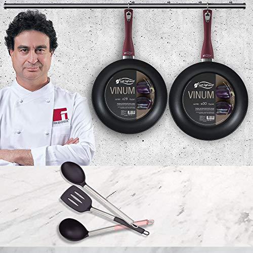 San Ignacio 2 sartenes Gran Formato ø28 ø30 cm Aluminio Forjado VINUM + Juego 3 Utensilios de Cocina...