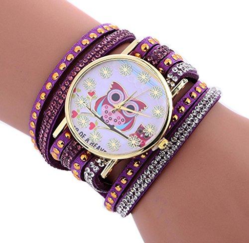 Amcool Damen Mode Eule PU Leder Armband Armbanduhr Schwarz (Gold Und Sport Perücke Lila)