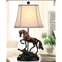 DLUF E27 Caballo Lámpara de mesa Dormitorio Salón Lámpara de cabecera Estilo europeo retro Resina Creativa Decoración Oficina Luz