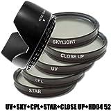Kit Filtre DynaSun Polarisant Circulaire CPL 52mm C-PL + UV Ultra Violet 52 mm + Skylight SKY + Star