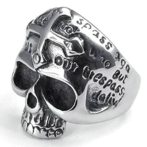 Stainless Steel Ring for Men, Dead Head Ring Gothic Black Band Silver Band 26MM Size X 1/2 Epinki