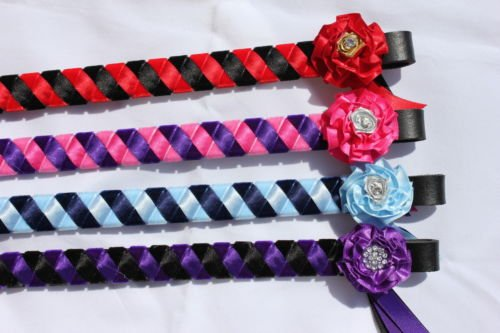 just-browbands-essentials-ruffle-stripe-browband-leather-black-colour-navy-blue-pale-blue-size-125in