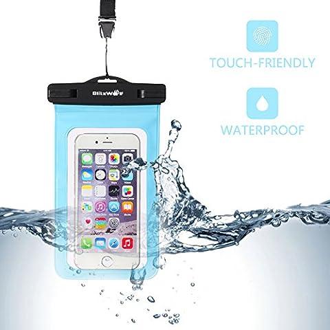 Pochette Téléphone Étanche, BlitzWolf Étui Étanche Certifiée IPX8, Étanche Universel (6'') Imperméable (profondeur de 30m) à Durable Écran Tactile avec Cordon de Cou pour iPhone SE/7 /7 Plus/6S Plus /6S /6 /5S /5C /5, Samsung, LG,