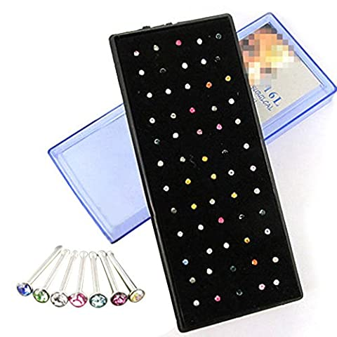 Sanwood® 60x Shining Crystal Nose Ring Bone Stud Surgical Steel Body Piercing Jewelry