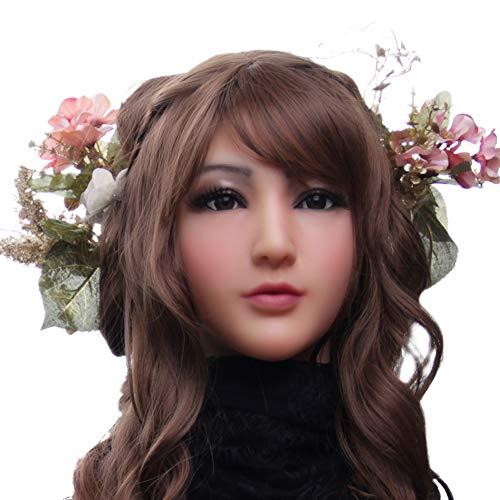 FHSGG Crossdressing Silicone Mask Realistisches weibliches Gesicht mit leichtem Make-up für Crossdresser Masquerade Transgender Lovers
