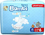 Sanita Bambi Baby Diapers Jumbo Pack Size 6, XX-Large, +18 KG, 40 Count