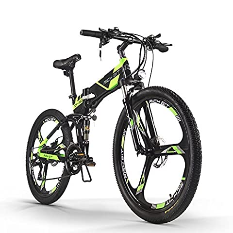 Rich Bit® New Updated RT-860 36V*250W Electric Bike Mountain Hybrid MTB Bike Bicycle Cycling Watertight Frame Inside Li-on Battery Quality Aluminum Alloy Folding Frame Suspension Fork 26inch Wheel Magnesium Integrated Wheel/Spokes Red (magnesium integrated