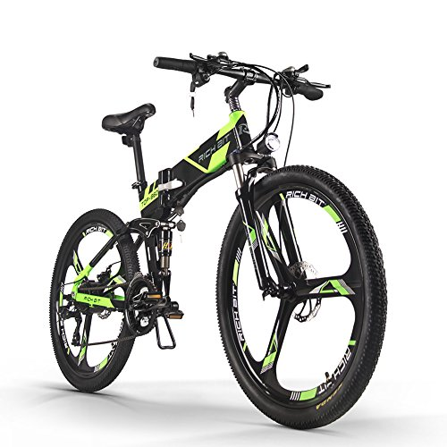 51dVdHevWbL. SS500  - RICH BIT Electric Folding Mountain Bike Mens Bicycle MTB RT860 12.8Ah Lithium-ion battery 7 Levels PAS speed LCD Display High Function Speedometer 50-60 Cycling Range Dual Susepension Black-Green