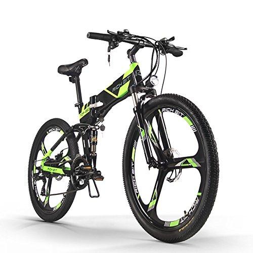 Rich Bit® Neue Aktualisierte RT-860 36 V * 250 W E-Bike Mountain Hybrid MTB Bike Fahrrad Wasserdicht Frame Akku Li-Ion Qualität Aluminium Klappbarer Rahmen Federgabel 66 cm Rad Magnesium integrierter Rad/Speichen grün (Reifen Cruiser Fahrrad Neues)