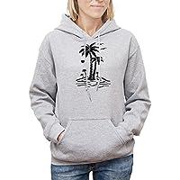 Felpa con cappuccio da donna con Palm Tree in the Island stampa.