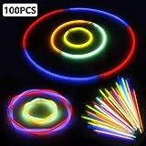 LeeHur Pacco di 100 Barre Luminose per Party, 100 Pezzi Braccialetti Fluorescenti Luminosi Colori Diversi per il Partito, il Compleanno (Colore Casuale)