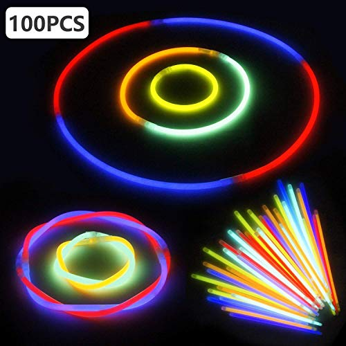 645a301f96eb LeeHur - Paquete de 100 barras pulseras fluorescentes para fiestas