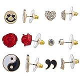 LUX Zubeh?r Gold Ton Emoji-Herz Blumen Yin Yang mehrere Ohrring Set 6-teilig
