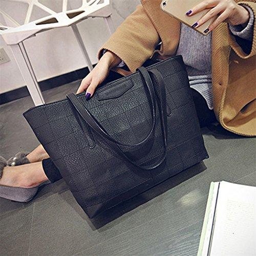 Lässig Mode Dame große Handtasche Messenger Tasche Geldbörse JYJM Damen Plaid Leder Schultertasche Büchertasche / Cambridge TascheZipper Schwarz