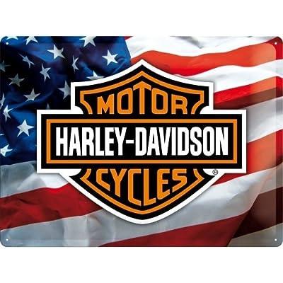 Harley-Davidson Moto Logo Insigne Drapeau garage Vélo classique vue dans un films comme Facile Rider Chopper. Hog. Idéal pour les maison, barre, ou grotte. 3D Métal/Panneau Mural Métalique