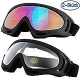 Mounchain Skibrille, 2 Paar, UV400 Schutzbrille, Anti-Nebel Motorradbrille, Staubschutz und Winddicht Wintersport Brille für Augenschutz bei Outdoor Aktivitäten (Mehrfarbig + Transparent)