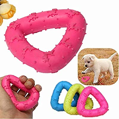 Pet Dog Rubber Teeth Chew Training Fetch Toys Dental Play Funny Toy Non-Toxic Color Random