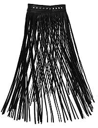 iixpin Jupe avec Ceinture Femme Accessoire de Danse Frange Ceinture Cuir  Longue Bandage Jupe de Club 584bbe41bef