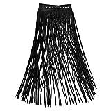 Agoky Damen Winter Fransen Lederrock Maxirock Hohe Taille Hippie Rock Lang Plisseerock Ausgestellt Quaste Skirt in schwarz, weiß Schwarz L(Taille 70-90cm)