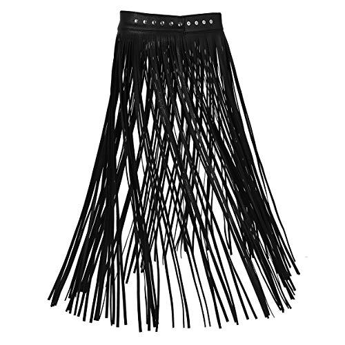 Agoky Damen Winter Fransen Lederrock Maxirock Hohe Taille Hippie Rock Lang Plisseerock Ausgestellt Quaste Skirt in schwarz, weiß Schwarz L