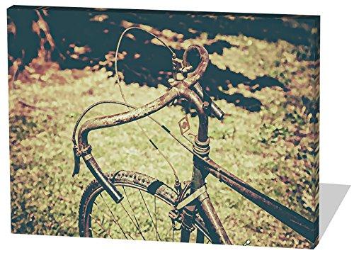 Vintage Bike, Gemälde Effekt, schönes und hochwertiges Leinwandbild zum Aufhängen in XXL - 60cm x 40cm, echter Holzrahmen, effektiver Pigmentdruck, modernes Design für Ihr Büro oder Zimmer (Thriller Kostüm Für Verkauf)