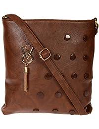 Zapatoz Women's Plain Brown Leatherite Sling Bag (Sling-04-Vs-brown)