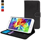 Samsung Galaxy S5 Case, Snugg™ - Leather Flip Case with Lifetime Guarantee (Black) for Samsung Galaxy S5