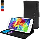 Coque Galaxy S5, Snugg™ - Étui À Rabat de type Flip Cover / Smart Case En Cuir Noir Avec Garantie À Vie Pour Samsung Galaxy S5