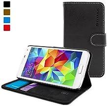 Funda Galaxy S5, Snugg™ - Carcasa Negra De Cuero (PU) Con Tapa Y Garantía De Por Vida Para Samsung Galaxy S5