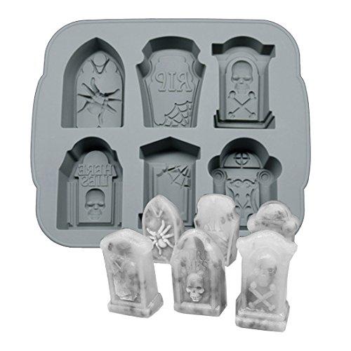 3D Skull Ice Form Schalen, BPA-frei Silikon Ice Cube Maker Whisky Party Spuk-Werkzeug, 6Mulden Gravestone