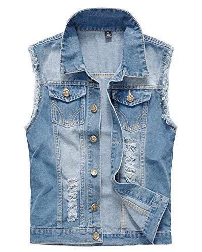 Uomo Vintage, Denim Gilet, Giacca in Jeans, Senza Maniche, Giacca Cowboy Azzurro Chiaro XL