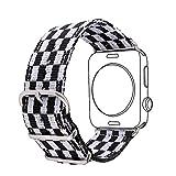 Bandmax Armband für Apple Watch, Nylon Gewebe Denimstoff Ersatzarmband Fashion Schwarz-weiß Gitter...