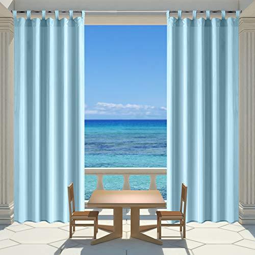 ng-Panel für Veranda Terrasse , Sichtschutz Tuch Klettverschluss Fenster Vorhang mit UV-Ray geschützt und wasserdicht , einfach zu Hängen auf 127x 243,8cm Hellblue ()
